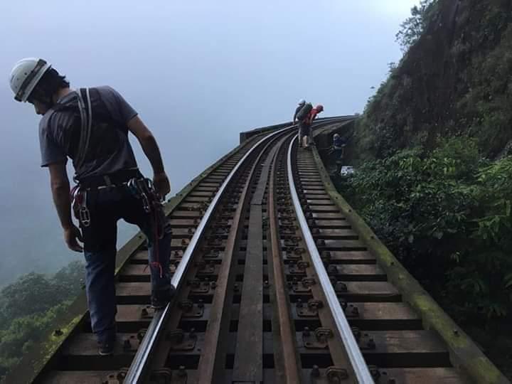 Mulher pula de viaduto para nao ser atropelada por trem